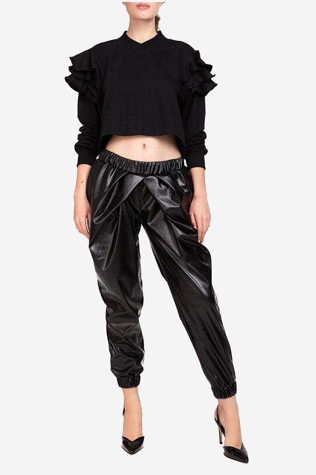 Pantaloni negru din imitatie de piele Shakara imagine 0