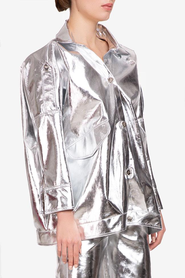 Jacheta argintie din bumbac Shakara imagine 1