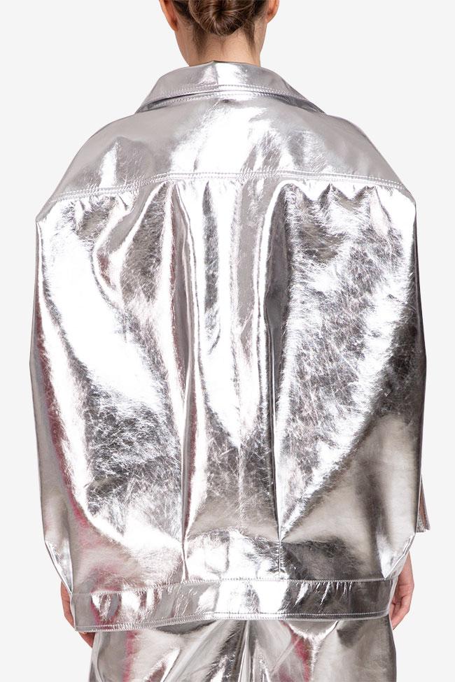 Jacheta argintie din bumbac Shakara imagine 2