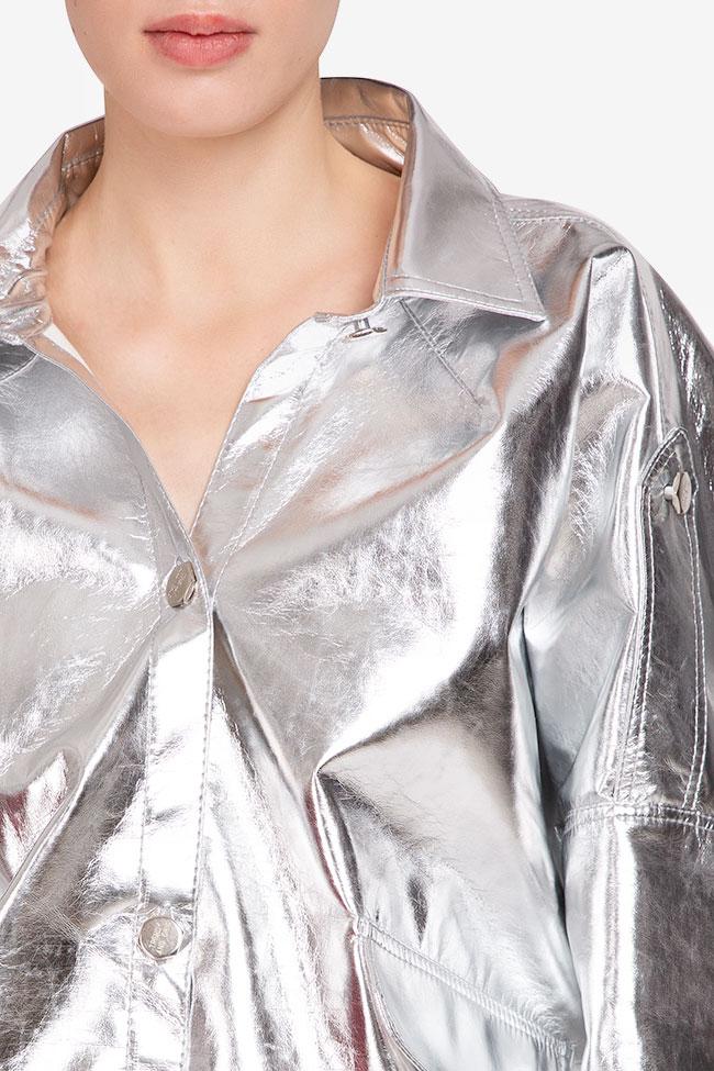 Jacheta argintie din bumbac Shakara imagine 3