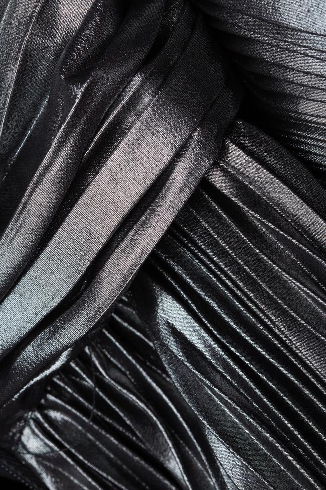 Rochie plisata argintie din voal peliculizat Cloche imagine 4
