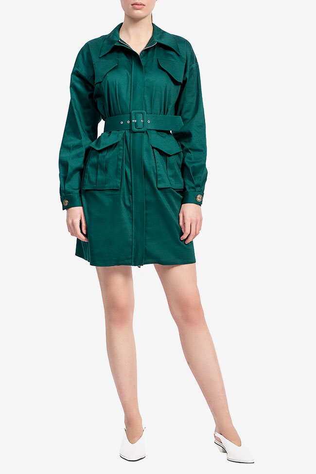Rochie camasa din bumbac verde smarald Esa  imagine 0