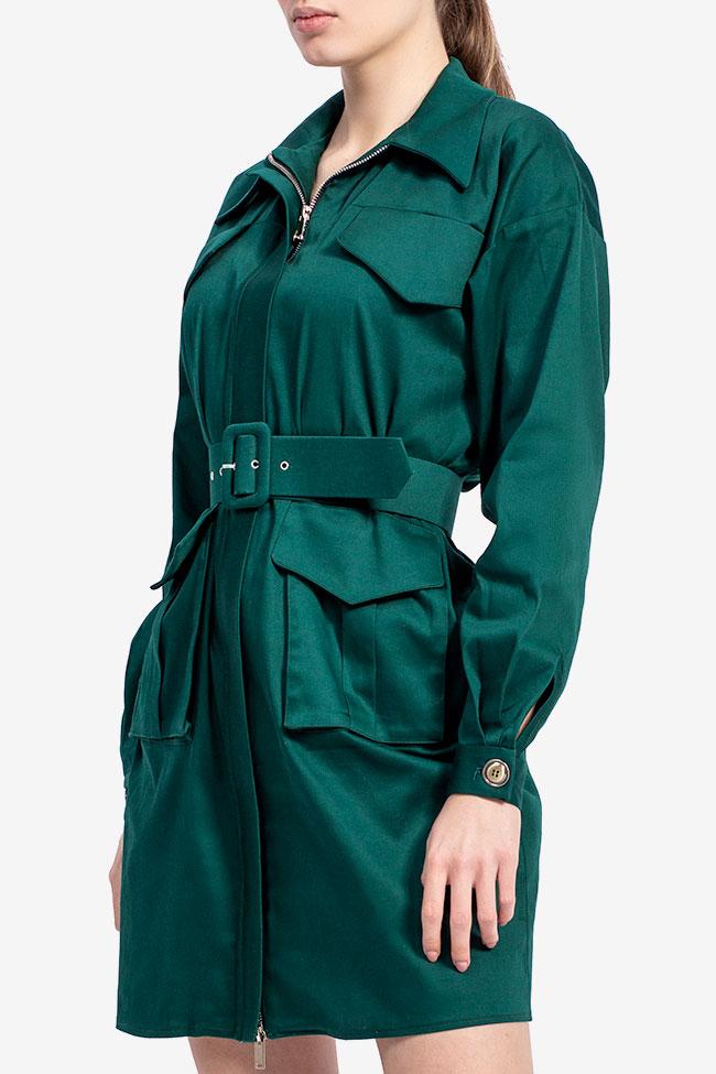 Rochie camasa din bumbac verde smarald Esa  imagine 1