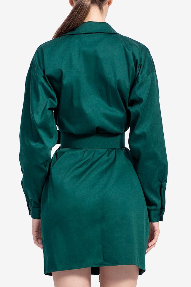 Rochie camasa din bumbac verde smarald Esa  imagine 2