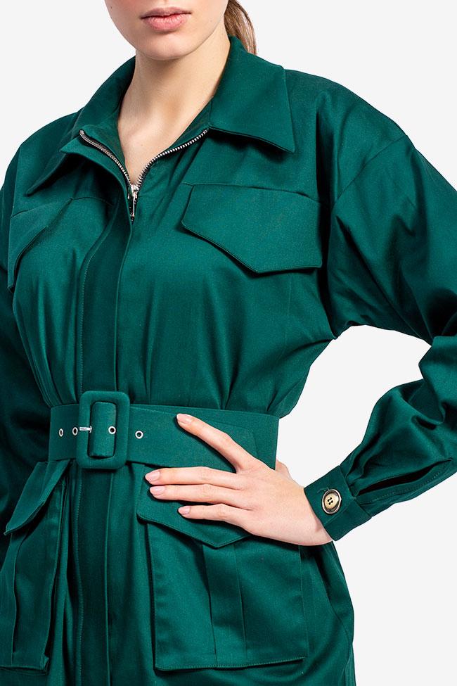 Rochie camasa din bumbac verde smarald Esa  imagine 3