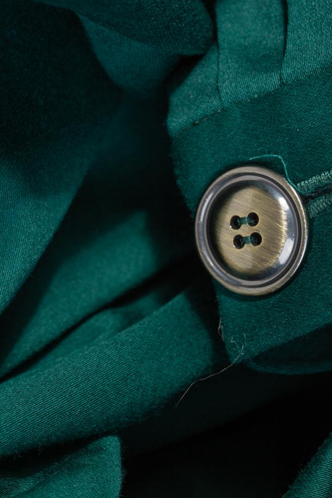 Rochie camasa din bumbac verde smarald Esa  imagine 4