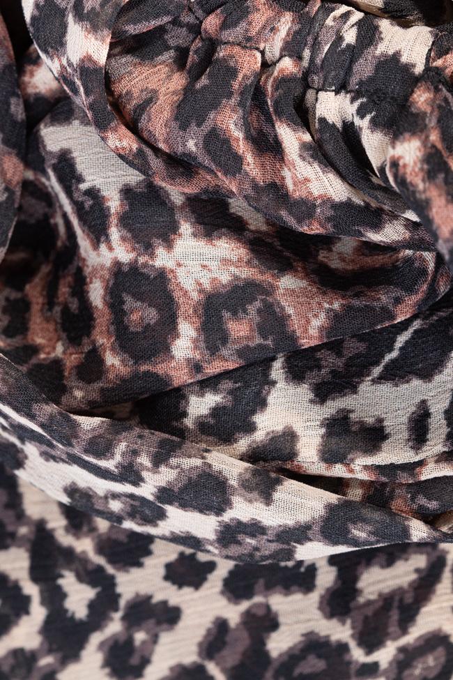 Rochie scurta asimetrica din voal animal print Esa  imagine 4