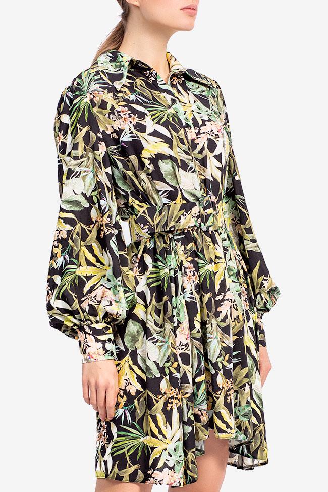 Rochie din bumbac cu imprimeu tropical jungla Esa  imagine 1