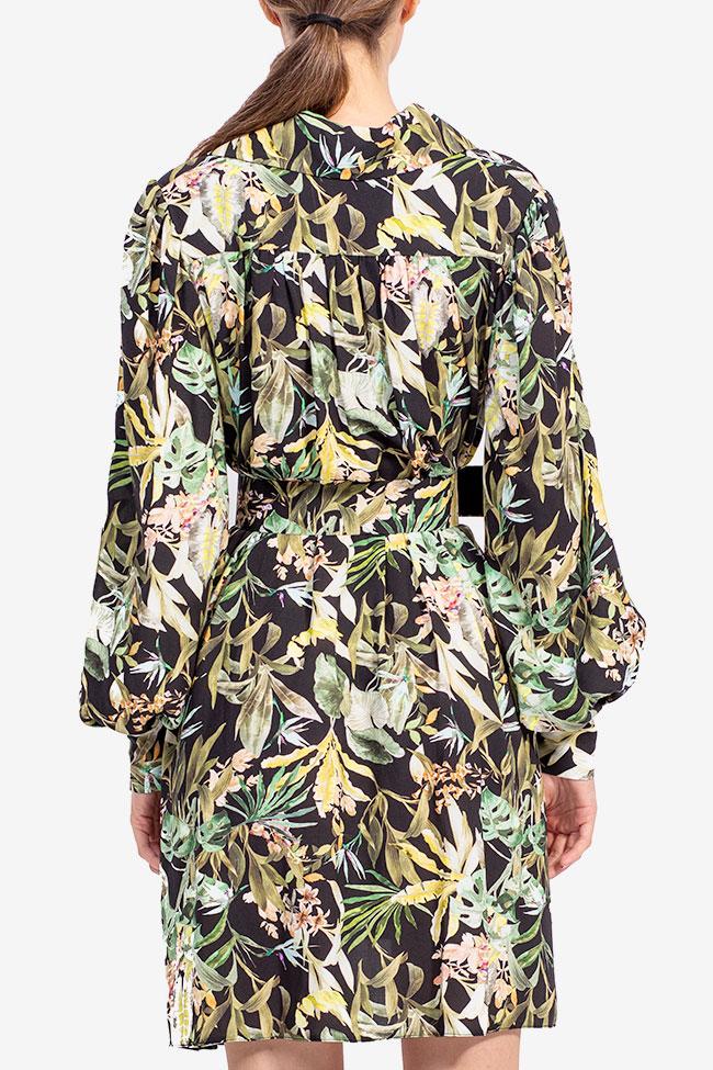 Rochie din bumbac cu imprimeu tropical jungla Esa  imagine 2
