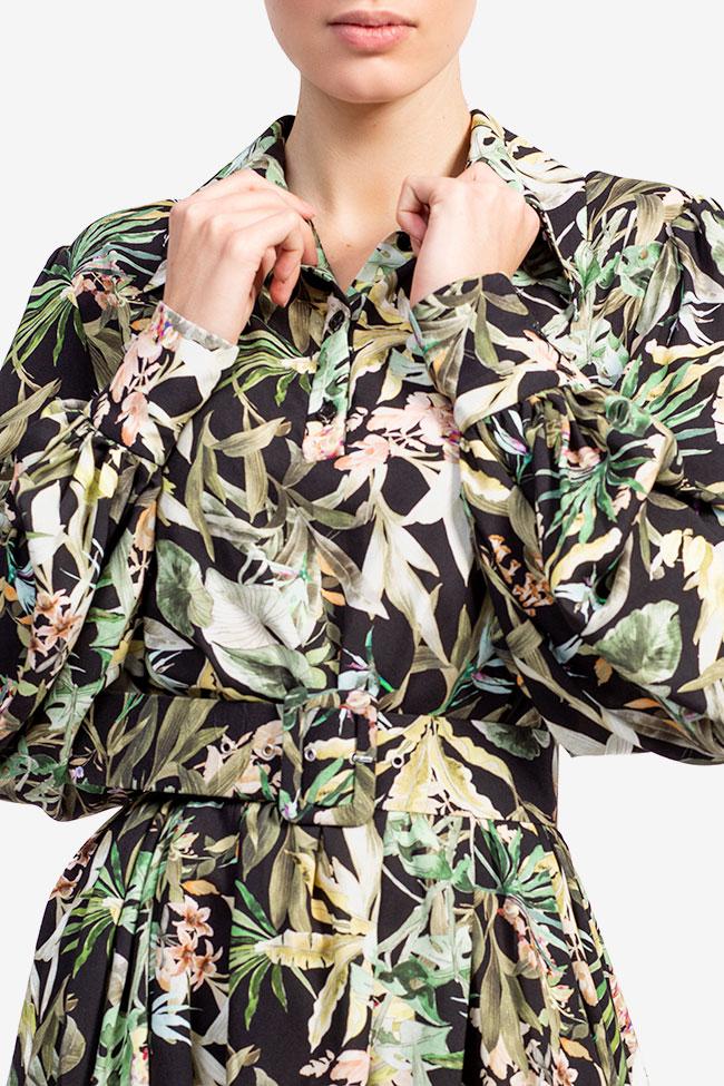 Rochie din bumbac cu imprimeu tropical jungla Esa  imagine 3