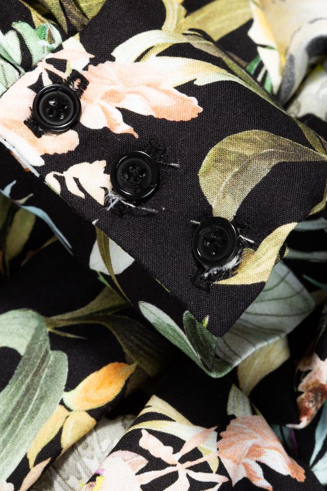 Rochie din bumbac cu imprimeu tropical jungla Esa  imagine 4