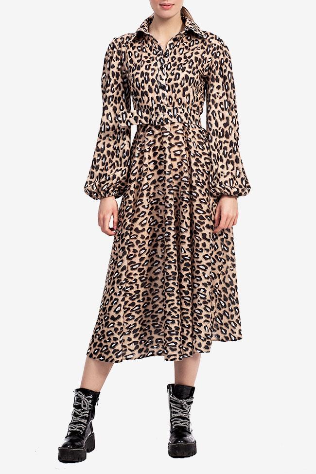 Rochie midi imprimeu leopard Esa  imagine 0