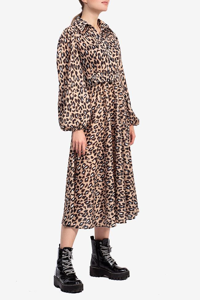 Rochie midi imprimeu leopard Esa  imagine 1