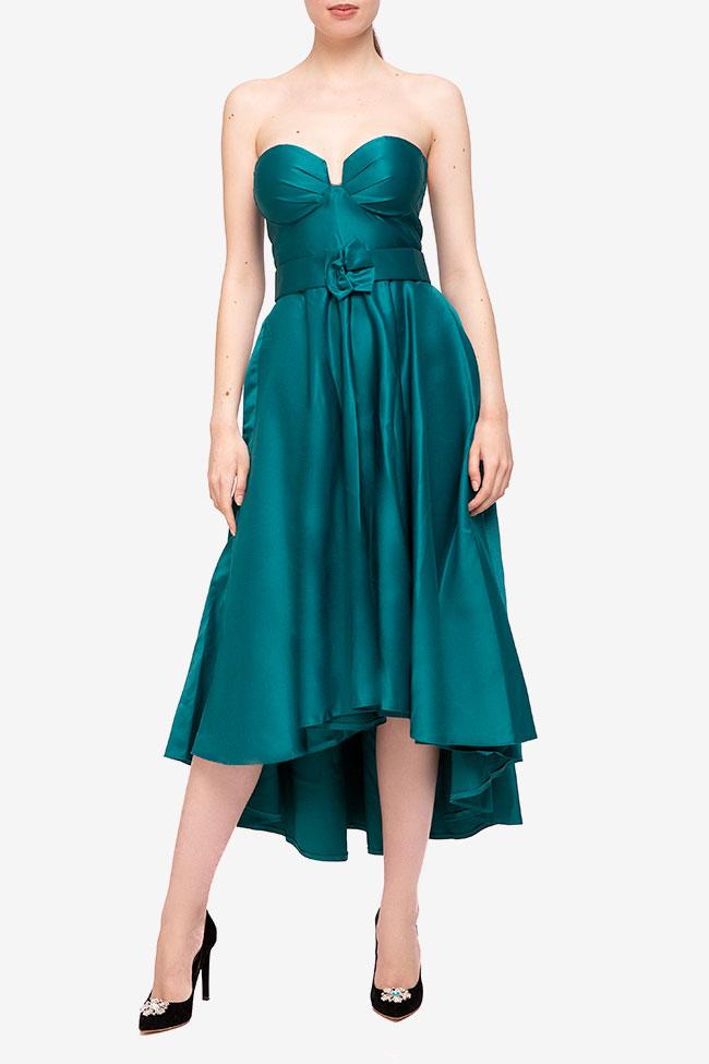 Rochie din tafta cu corset si lungime asimetrica BBY Fashion imagine 0