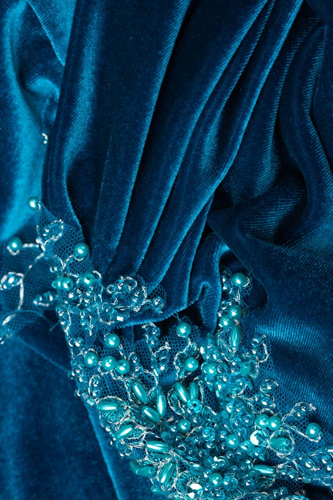 Rochie turcoaz din catifea cu aplicatii de margele Malvina imagine 2
