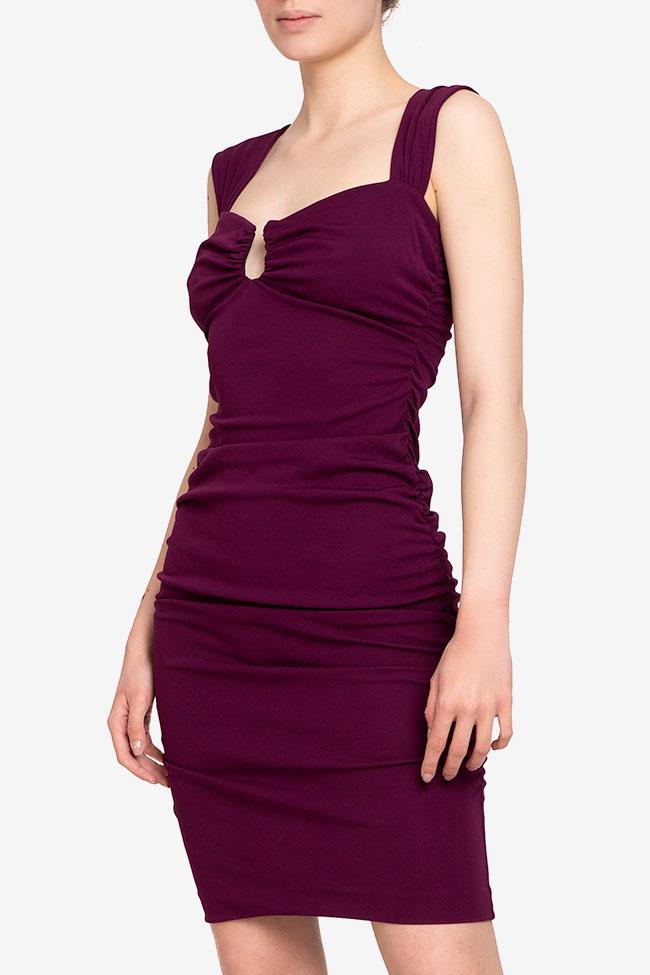 Rochie violet cu fronseuri Nicole Miller imagine 0