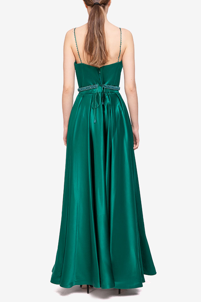 Rochie verde cu centura cu perle Marta Style imagine 1