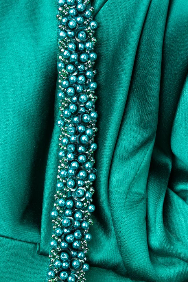 Rochie verde cu centura cu perle Marta Style imagine 2