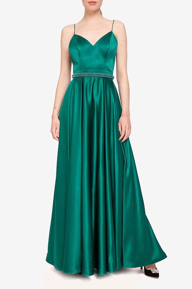 Rochie verde cu centura cu perle Marta Style imagine 0