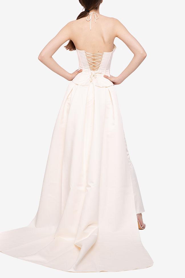 Rochie alba cu corset si trena atasata  Agnes Toma imagine 1