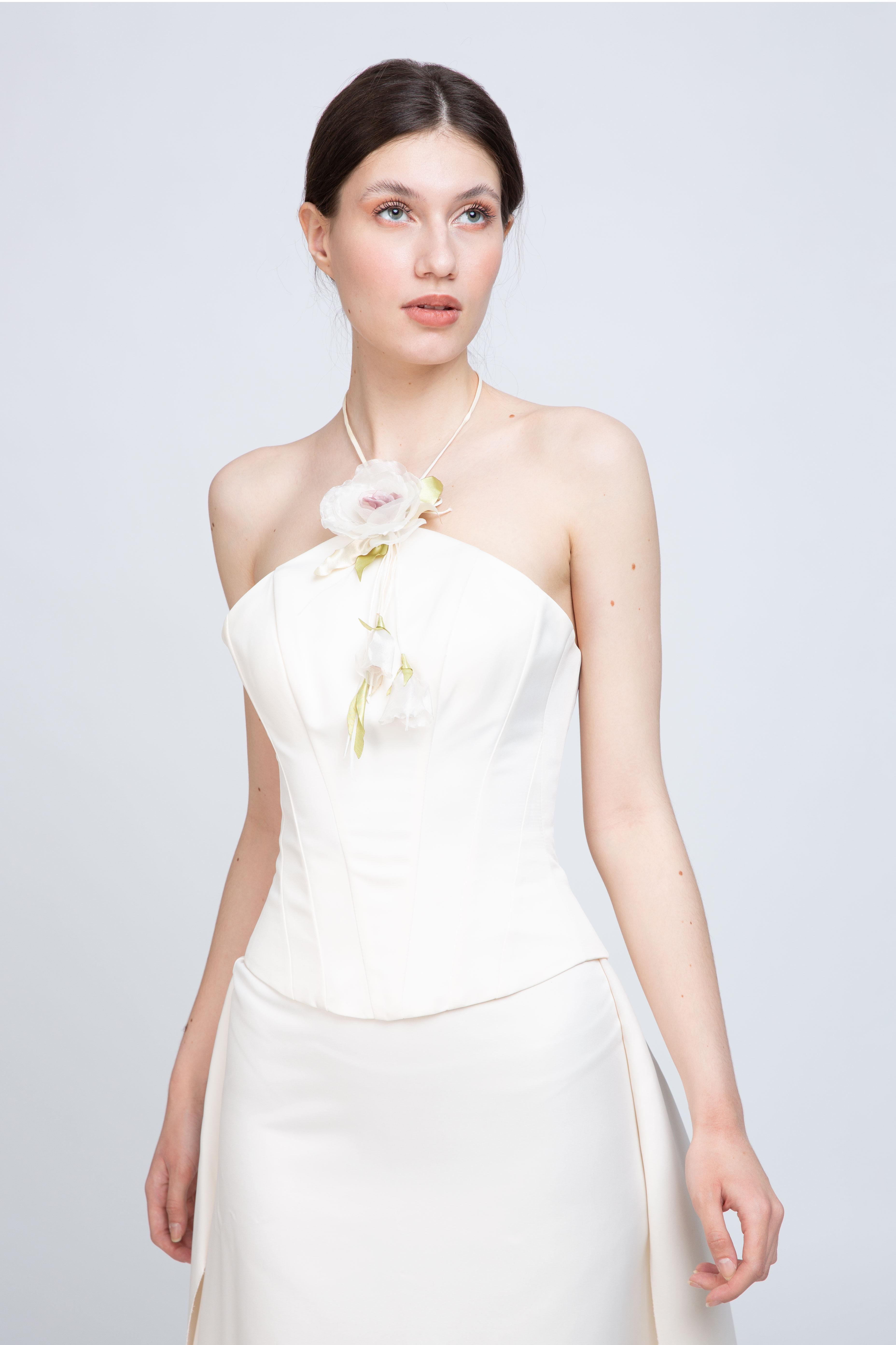Rochie alba cu corset si trena atasata  Agnes Toma imagine 2