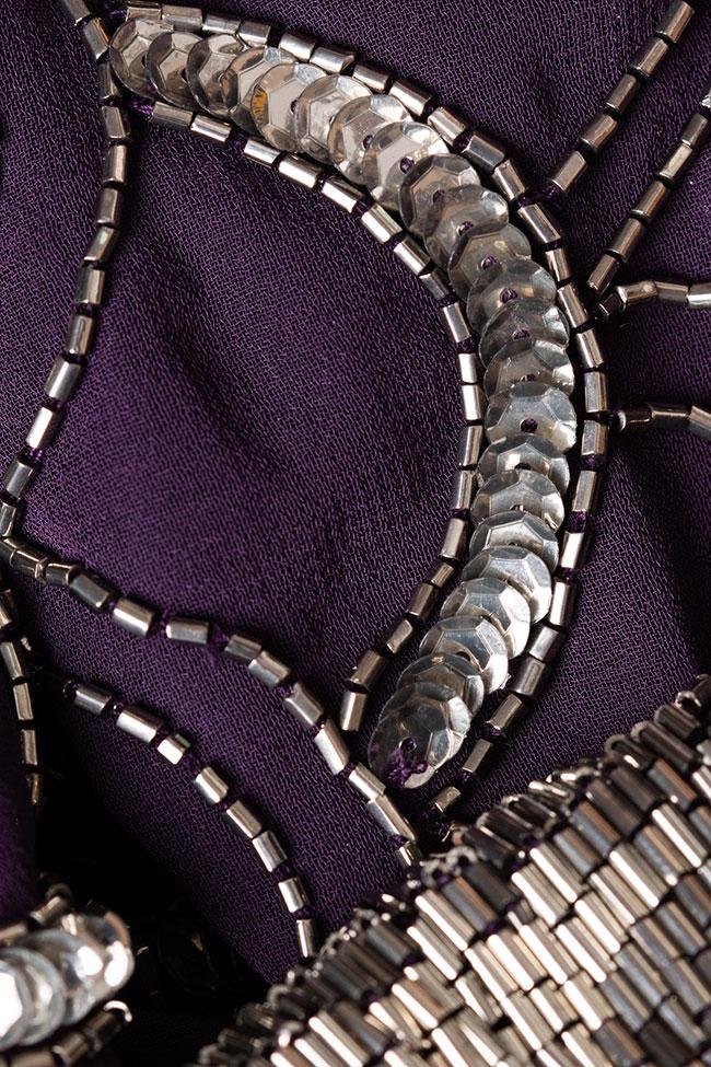 Rochie cu paiete argintii si spate decupat Adrianna Papell imagine 2