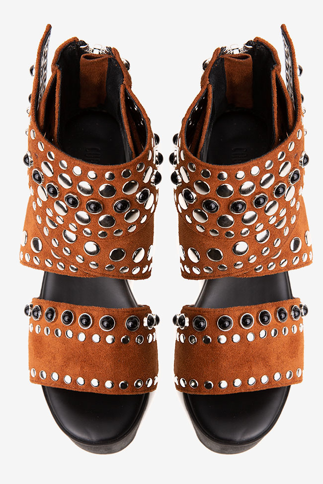 Sandale din piele intoarsa maro cu aplicatii Current Mood imagine 1