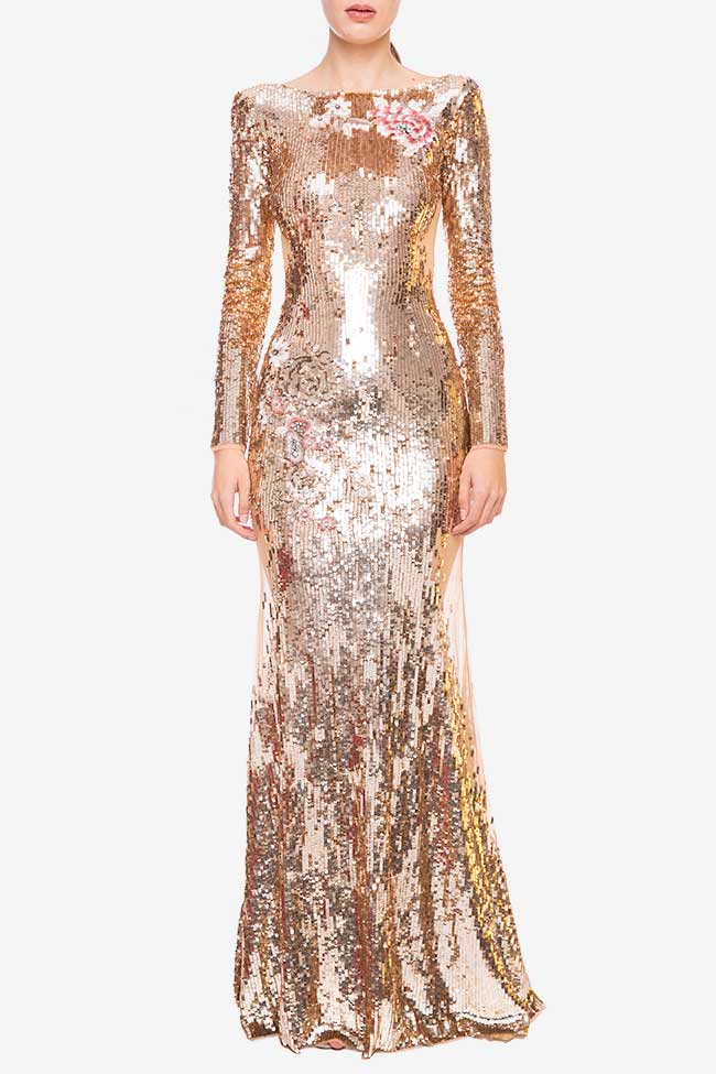 Rochie lunga cu paiete aurii Elisabetta Franchi imagine 0