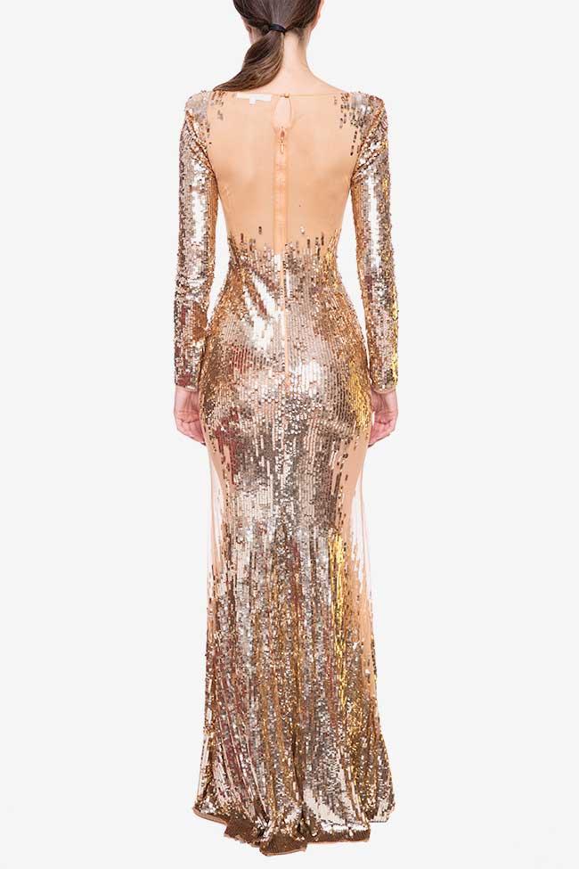 Rochie lunga cu paiete aurii Elisabetta Franchi imagine 1
