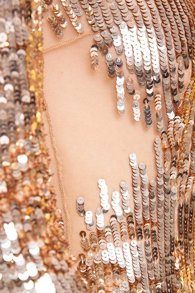 Rochie lunga cu paiete aurii Elisabetta Franchi imagine 2