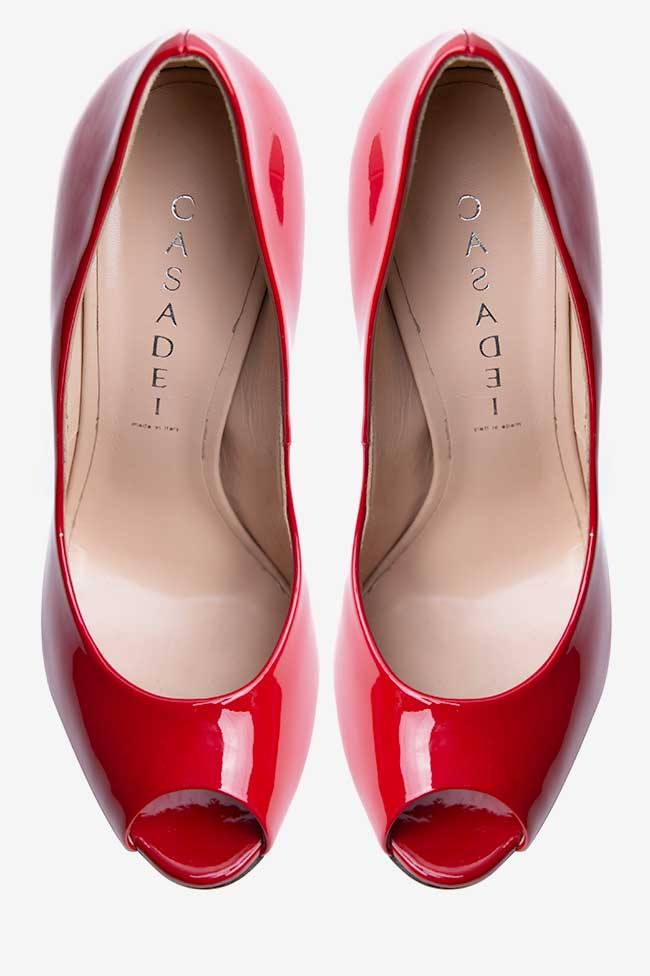 Pantofi rosii lacuiti cu platforma Casadei imagine 1